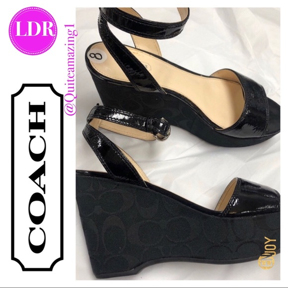 Coach Shoes - Black Patent Leather COACH Wedge Sandals